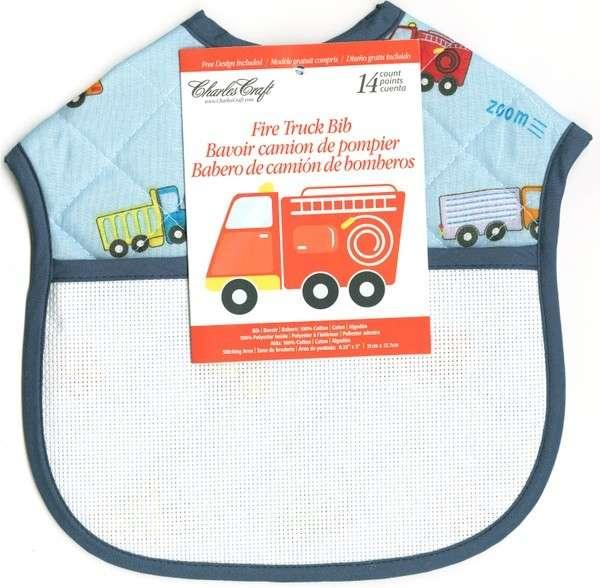 Ready To Stitch Quilted Baby Bib Firetruck