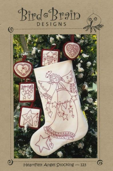 Heartfelt Angel Redwork Stocking