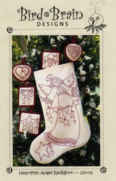 CD Heartfelt Angel Redwork Machine Embroidery
