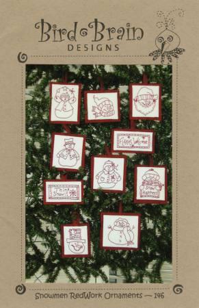 Snowman Redwork Ornaments - #146