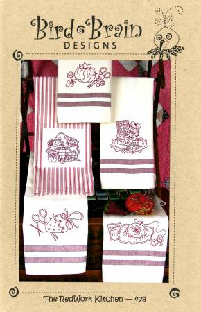 Redwork Kitchen Tea Towel