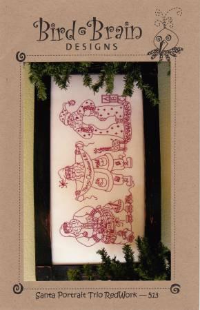 Santa Portrait Trio - Redwork Pattern