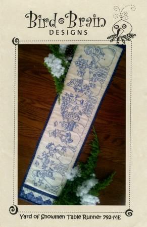 CD Yard of Snowmen Table Runner Machine Embroidery