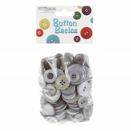 Button Candy Bag Silver Grey 5oz Assorted Sizes