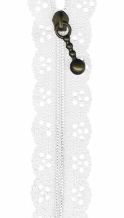 12in Little Lacie Zipper - White
