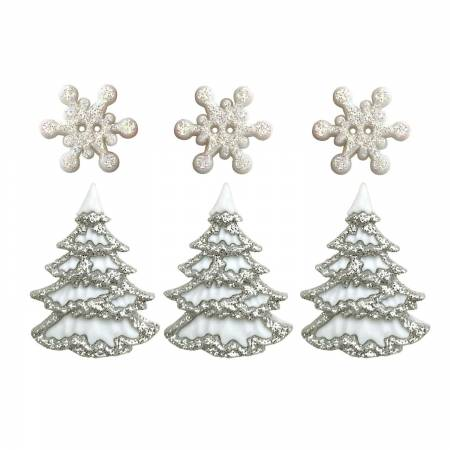 White Christmas Buttons 4825