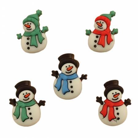 Jolly Snowmen Buttons 5 pc