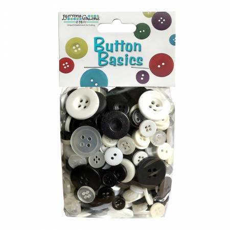 Button Candy Bag Black & White 5oz Assorted Sizes