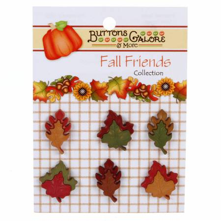 Fall Friends Tumbling Leaves Buttons - 6