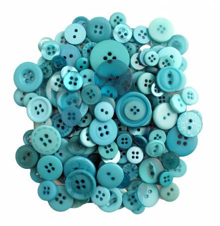 Bali Blue Buttons in Mason Jar