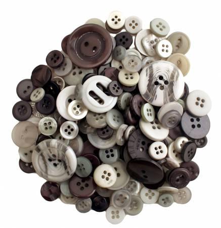 Smokey Greys Buttons in Mason Jar