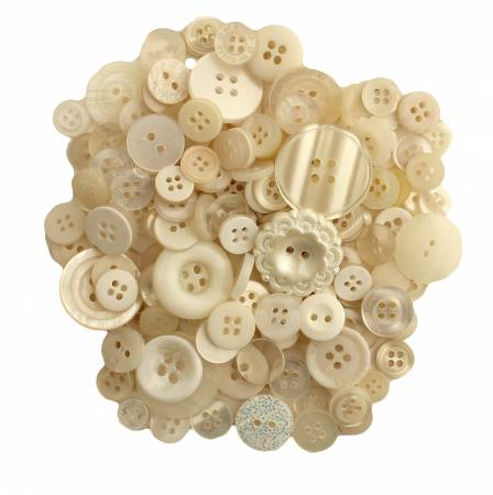 Antique White Buttons in Mason Jar