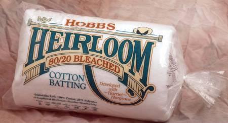 Batting Heirloom Premium Bleached Cotton Blend 90in x 108in 6ct