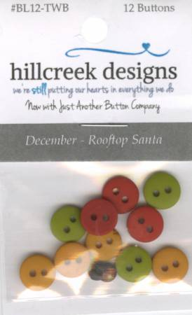 Little Quilts Squared Rooftop Santa December Button Pack