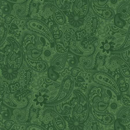 Emerald Green Paisley 108in Wide Back