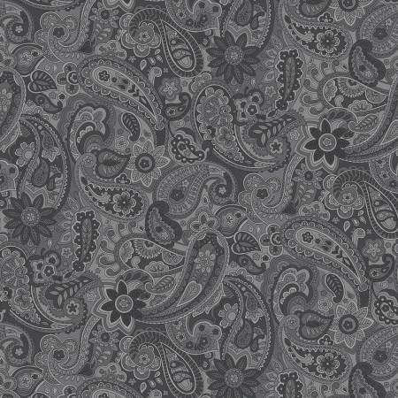 Grey Paisley 108in Wide Back