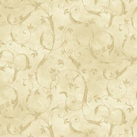 Cream Scroll 108in Wide Back