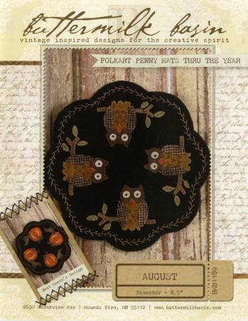 Folkart Penny Mats Thru the Year August Owls