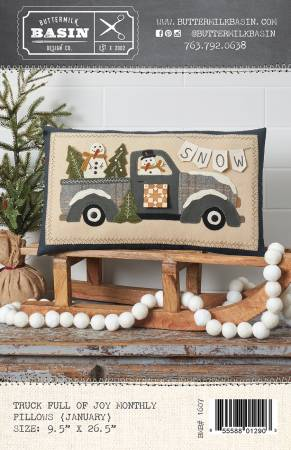 PT W BMB Truck Full of Joy Monthly Pillows Jan with Button