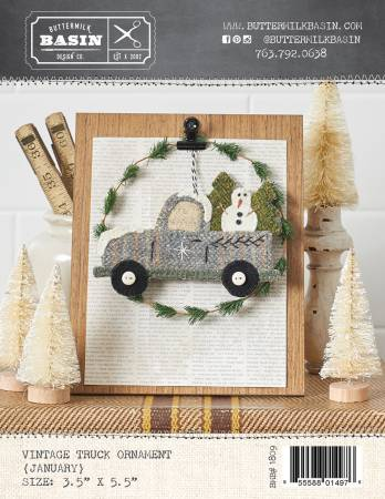 Vintage January Truck Ornament Wool Kit
