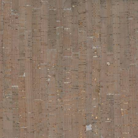 Prepacked Cork Blend Fabric, 18in x 15in roll, Taupe/Silver Metallic