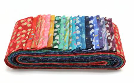Bali Poppy Gemstone  - 2-1/2in Strips 20pcs/bundle - By Hoffman Fabrics