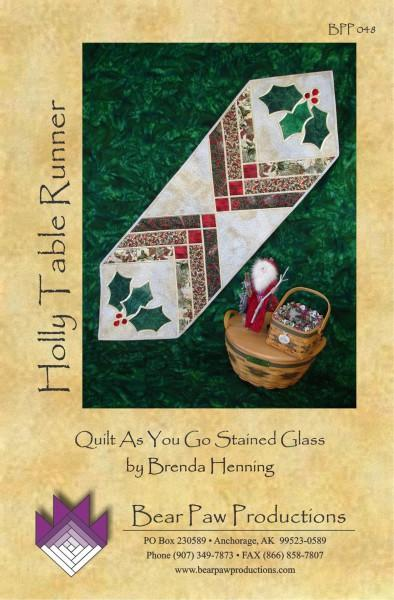 Holly Table Runner in Stained Glass