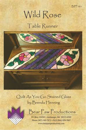 Wild Rose Table Runner in Stained Glass