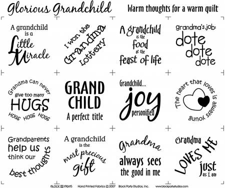 Glorious Grandchild 18in x 20in Panel White With Black Writing