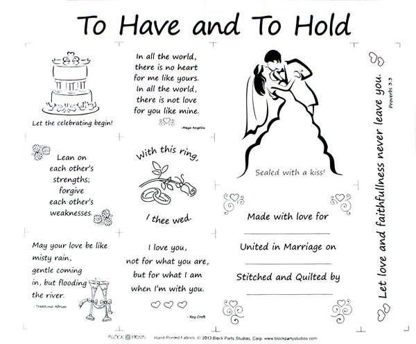To Have And To Hold 18in x 20in Panel White With Black Writing with Pattern