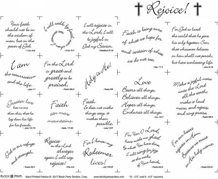 Rejoice 18in x 20in Panel White With Black Writing (143)