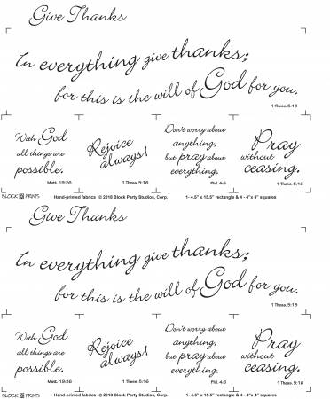 Give Thanks 18in x 20in Panel White With Black Writing (148)