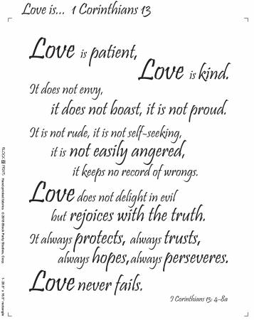 Love is 1 Corinthians 18in x 20in Panel White With Black Writing (147)