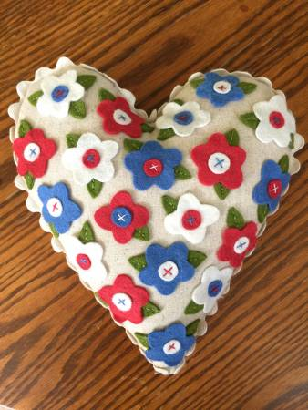 Little Heart Pillow Fabric and Floss Kit