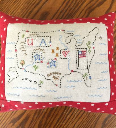 Little Map Pillow Fabric and Floss Kit