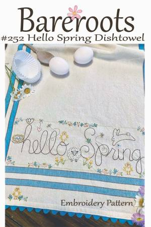 Hello Spring Embroidered Dishtowel Pattern