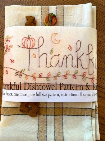 Bareroots Thankful Dishtowel Pattern and Floss Kit 261 *