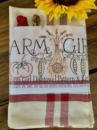 Farm Girl Embroidery Dishtowel Kit