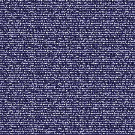 Blue Stitch Text Navy