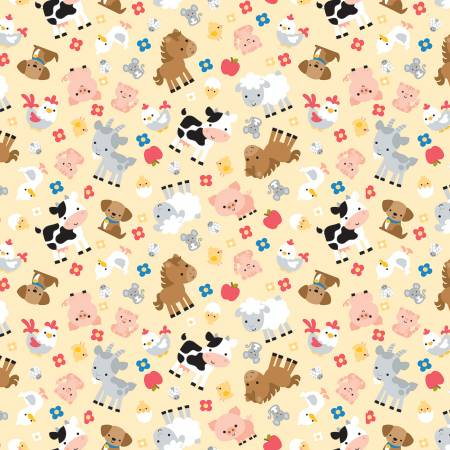 Down On The Farm Children's Fabric Yardage Yellow/Multi 44-45 Inches Wide
