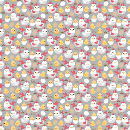 Down On The Farm Chickens Gray Fabric
