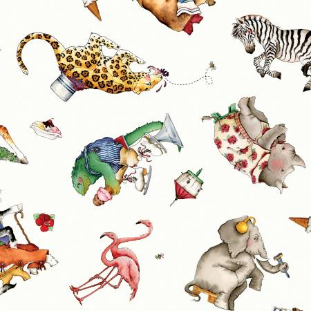 Hungry Animal Alphabet Animal Toss White by J. Wecker Frisch for Riley Blake Designs