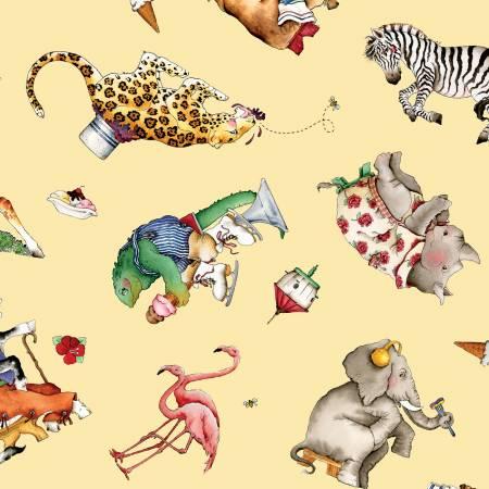 Riley Blake Hungry Animal Alphabet Animal Toss Yellow Digital C10182R-YELL