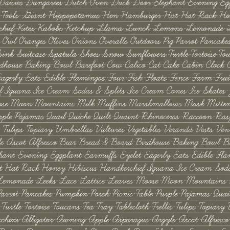 Riley Blake Hungry Animal Alphabet Penmanship Charcoal C10185R-CHAR