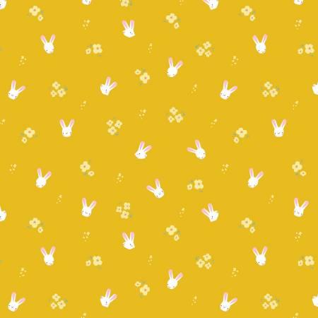 Easter Egg Hunt Bunnies Mustard -Fat Quarter
