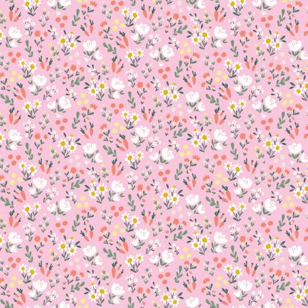 Easter Egg Hunt Floral Pink Fabric by Riley Blake