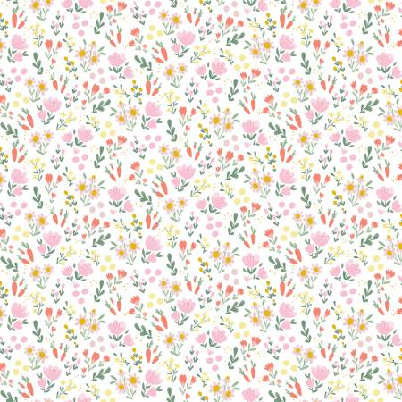 Easter Egg Hunt Floral White Fabric by Riley Blake