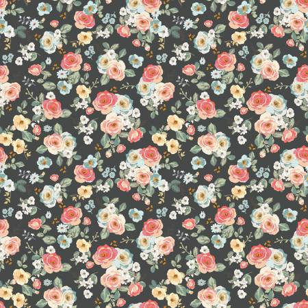 Gingham Gardens Floral Charcoal