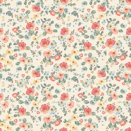 Gingham Gardens Floral in Cream by My Mind's Eye for Riley Blake Designs