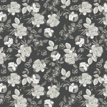 Gingham Gardens Lined Floral Charcoal